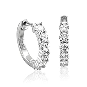 14k White Gold 6 Stone Hoop Diamond Earrings (GH, I1-I2, 0.74 carat)