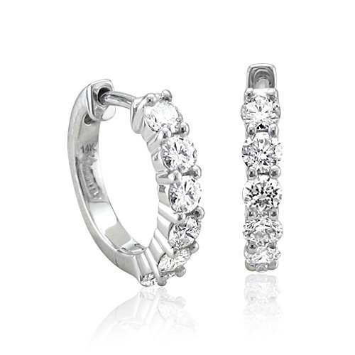 14k White Gold 6 Stone Hoop Diamond Earrings