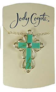 Jody Coyote Silver Turquoise Cross Pendant Necklace 1331691