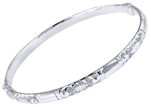 Silver 5mm Patterned Hinged Bangle