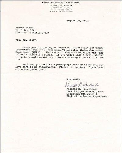 Ken Nordsieck - Typed Letter Signed 08/29/1986