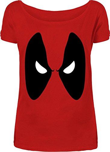 Deadpool - Maglieta da donna con motivo Eyes - Licenza Marvel - Cotone rosso - S