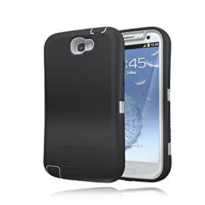 [180 Days Warranty][Case WITHOUT Battery] Zerolemon Black / Gray Zero Shock Series for Samsung Galaxy Note 2 N7100 - Covers All Battery Sizes - Worlds Only Universal Form Fitting Case. Rugged Hybrid Case Includes Belt Clip and Kickstand **USA Patent Pending**