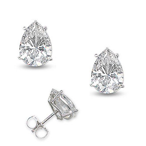 2Ct Tw Cubic Zirconia Diamond Tear Shape Basket Setting (.925) Sterling Silver Stud Earrings (Nice Holiday Gift, Special Black Firday Sale)