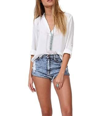 Nouveau T-shirt Col V Femme lache mousseline à manches printemps Eté longues élégant Chemises Tops (L, Blanc)