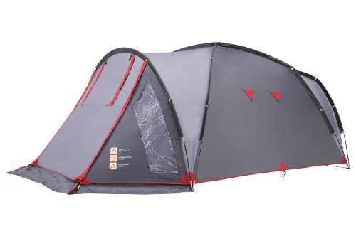 Gelert Colima 3TD Three Man Tent - Frosted Grey/Hot Red