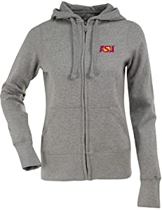 Arizona State Ladies Zip Front Hoody Sweatshirt (Grey) by Antigua