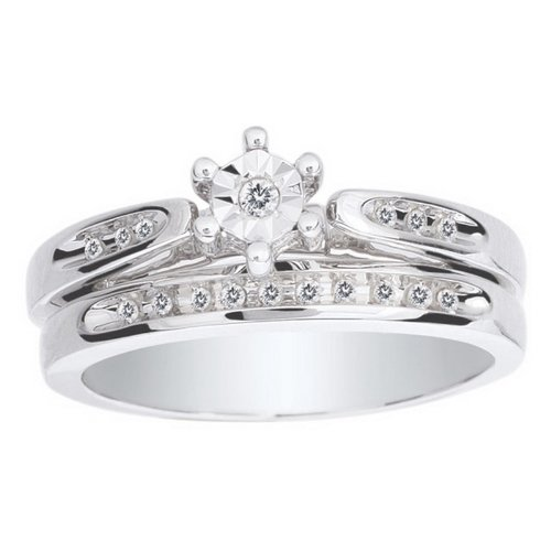 10K White Gold 0.1cttw Prepared For Marriage Shared Prong Round Diamond Bridal Ring Set