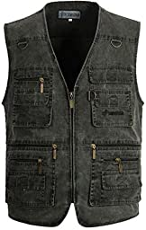Alipolo Mens Summer Cotton Leisure Outdoor Plus Size Fishing Vest Dark Grey US M/Label XL