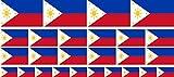 Mini Aufkleber Set - Pack glatt - 4x 51x31mm+ 12x 33x20mm + 10x 20x12mm- selbstklebender Sticker - Philippinen - Flagge / Banner / Standarte fürs Auto, Büro, zu Hause und die Schule - Set of 26