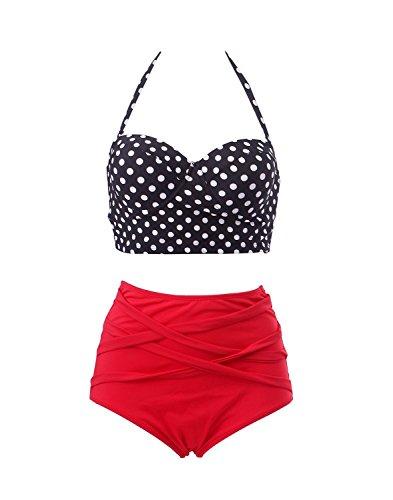 Baddi Red Vintage High Waist Bikini Retro Polka Dot Swimsuit (EU(44-46))