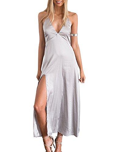 Simplee Apparel Women's Deep V Neck Sleeveless Satin Party Slip Dress Silver (Spaghetti Strap Satin Dress compare prices)
