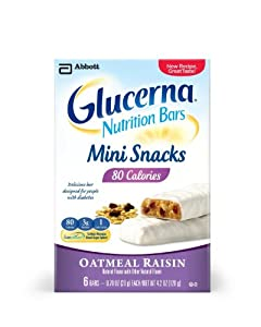 Glucerna Oatmeal Raisin Mini Bars, Packaging May Vary,  8-Count Boxes-Net Wt. 5.6 Oz (Pack of 6)