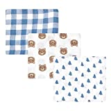 Hudson Baby Unisex Baby Cotton Muslin Swaddle Blankets, Little Bear, One Size (Color: Little Bear, Tamaño: One Size (Pack of 3))