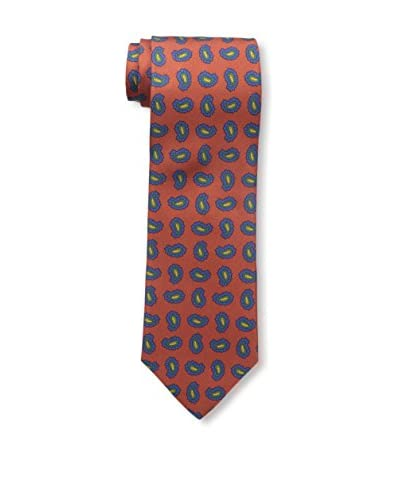 J.McLaughlin Men's Silk Twill Tie, Orange/Blue