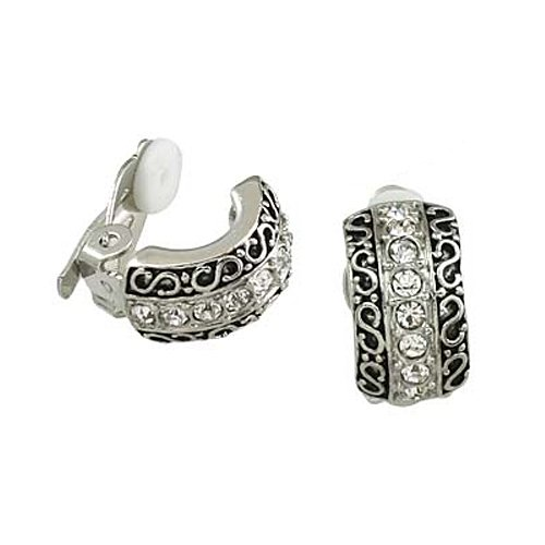 Silvertone with Rhinestone Cuff Clip-On Earrings Fashion Jewelry