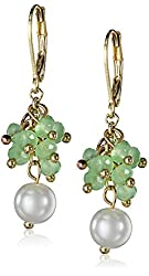 Anne Klein Confettied Pearls Gold-Tone Green and Blanc Shaky Drop Earrings