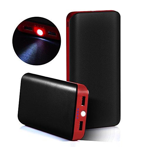 GRDE 25000mAh 2ポート 大容量モバイルバッテリー 携帯充電器iPhone6 6Plus 5S 5C 5 4S 4 / iPad / Xperia / Galaxy / Android 旅行必需品 (ブラックとレッド)