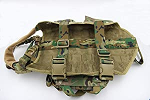 taousa 70282Support tactique pour chien formation molle Gilet Harnais avec pochettes amovible + Laisse pour chien militaire tactique Multi-Cam, Taille M