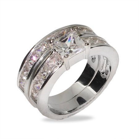 Sterling Silver Princess Cut Channel Set Engagement Set