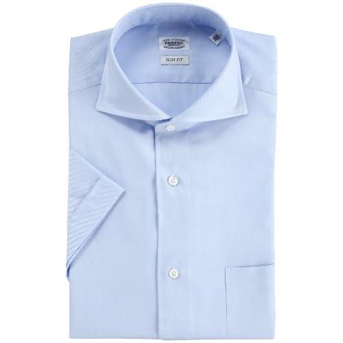 (フェアファクス)FAIRFAX クールマックスロイヤルオックス半袖ドレスシャツ 4307  サックス 37