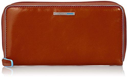Piquadro PD3229B2/AR Blue Square Portafoglio, Arancione, 18 cm