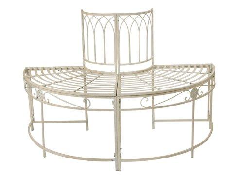 Alium, halbrunder Gartenbaum-Sitzplatz aus Stahl – cremefarben bestellen
