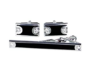 Lodestar Galaxy Gems Boutons de manchette et pince à cravate dans un coffret cadeau: gemmes que forment un sablier DE (ACV-01)