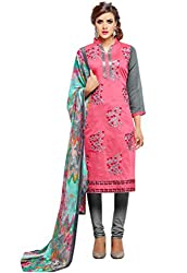 Madhavi Fashion pink embroidered cotton dress material