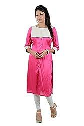 Kittus Fashion House Women's Poly Rayon Straight Kurti (Kskrt-1087_Pink_Xx-Large)