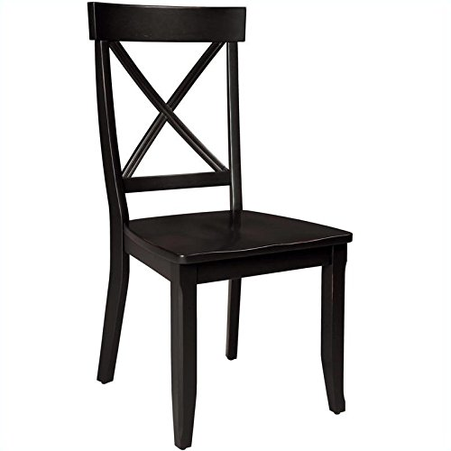 Home Styles Furniture Wood Side Chair in Rich Black Finish (Set of 2)