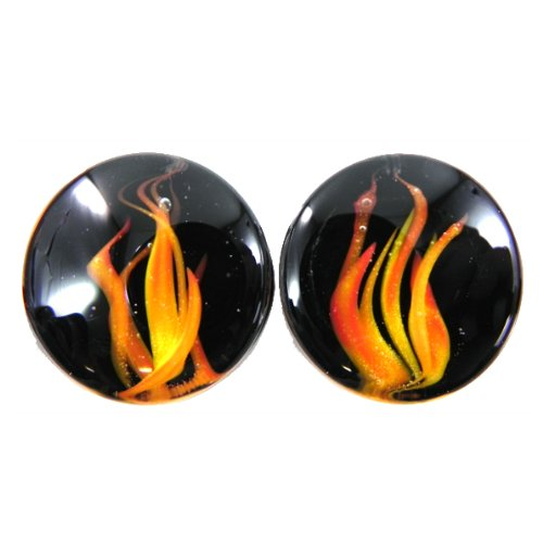 Red Flame Double Flared Handmade Glass Plugs - 1