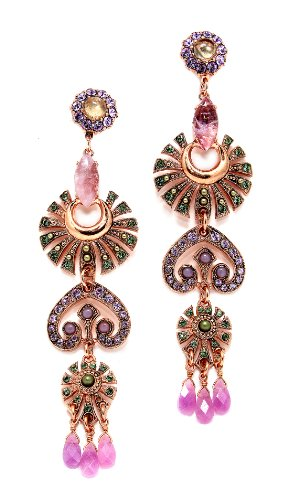 24K Rose Gold Plated Fantastic Earrings from 'Spring Vibration' Collection by Amaro Jewelry Studio Decorated with Marquise and Round Shaped Rainbow Fluorite, Labradorite, Lavender Cape Amethyst, Amethyst, Amazonite, Swarovski Crystals and Tear Drop Charms