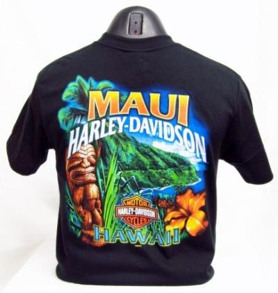 Maui Harley-Davidson Men's Hana Tiki Black T-Shirt (3X-Large)