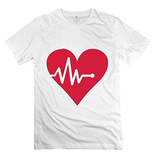 Ywt Heart Heartbeat Man T Shirt Casual Retro White