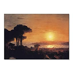 Ivan Aivazovsky Sunset Over The Golden Horn 1866 Original Landscapes Travel Oil Painting Reproduction on Gallery Wrapped Canvas 30X21 inch
