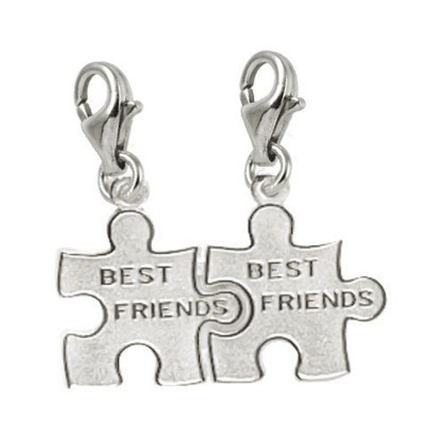 Rembrandt Charms Best Friend/Puzzle Piece Charm with Lobster Clasp, 14k White Gold