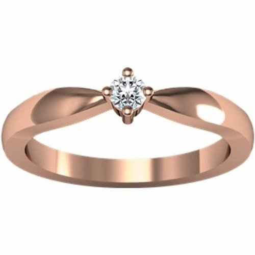 14K Rose Gold Solitaire Diamond Ring - 0.10 Ct. - Size 6