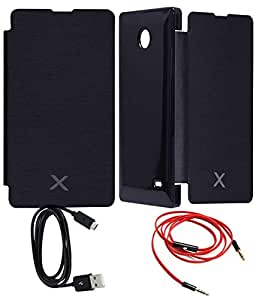 TBZ Flip Cover Case -Navy Blue for Nokia X with AUX Cable and Data cable