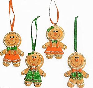 #!Cheap Glittery Gingerbread Big Head Christmas Tree Ornaments 4