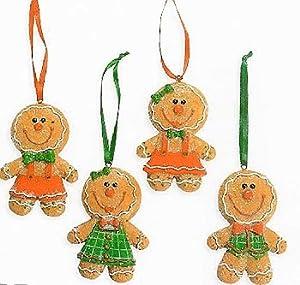 #!Cheap Glittery Gingerbread Big Head Christmas Tree Ornaments 4