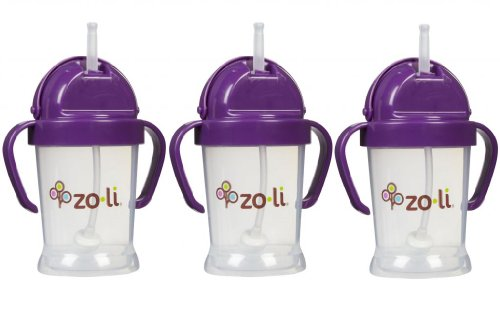 Zoli Baby BOT Straw Sippy Cup 6 oz - 3 Pack, Purple/Purple/Purple