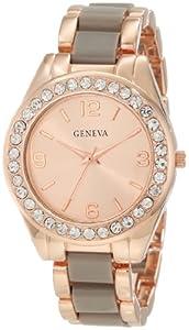 Geneva Moderate Women's AMZ1031 Multi-Bezel Rose Gold Link Bracelet Watch
