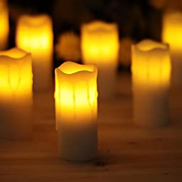 Led Candles,Home Impressions Melted Dripping Flameless Votive Pillar Led Candle With Timer,Battery Operated,Home Decorations for Room,White,1.75*4,Set of 12