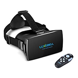 Luxebell 3D VR Glasses Virtual Reality Headset for 3D Movies and Games Compatible with iPhone 4s/5/5s And 4.7-6 Inch Smartphone iPhone 6 Samsung,Adjustable Strap,include Bluetooth Remote,NFC