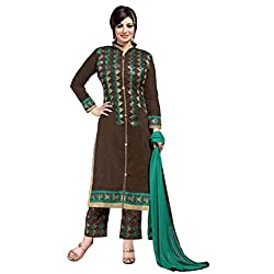 Manthan Chanderi Brown Embroidered Women's Chudidar Suit MNTKFMFDRMG36103