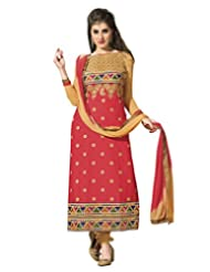 Surat Tex Red Color Embroidered Cotton Semi-Stitched Salwar Suit-D412DL2RU