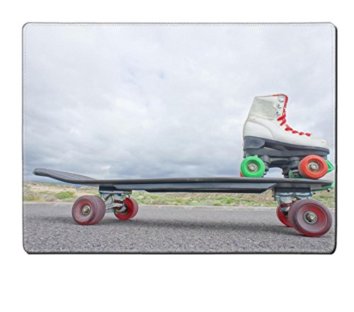 Luxlady Placemat Kitchen Table 15.8 x 12 x 0.2 inches hdr picture of Vintage Style Longboard Black Skateboard on an Empty IMAGE 28326978 Customized Art Home Kitchen