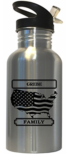 Grebe - Family Name American Flag Stainless Steel Water Bottle Straw Top