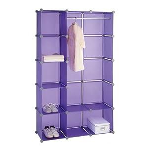 wenko kleiderschrank honey cube lila 106 x 174 x 34 5 cm schrank mit kleiderstange und. Black Bedroom Furniture Sets. Home Design Ideas